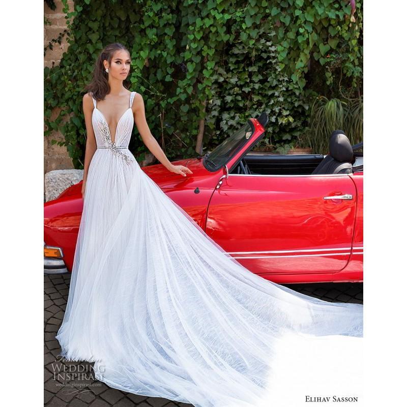 Elihav Son 2018 Aline Straps Sweet Sleeveless White Royal Train Rhinestone Open Back Lace Wedding Dress Unique