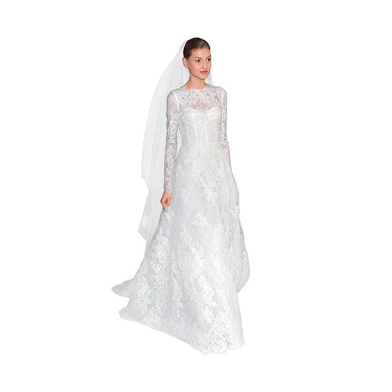 Monique Lhuillier - Long Sleeve Chantilly Lace A-Line Wedding Dress ...