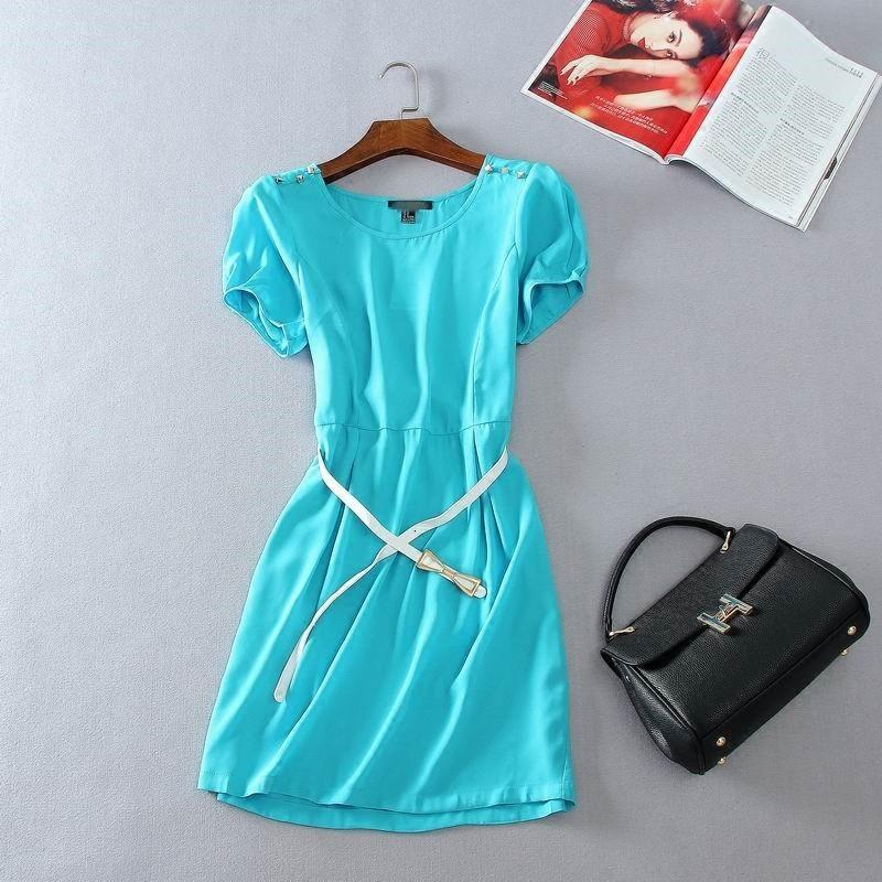 Mariage - Must-have Simple Scoop Neck Short Sleeves Chiffon Rivet One Color Dress - Discount Fashion in beenono