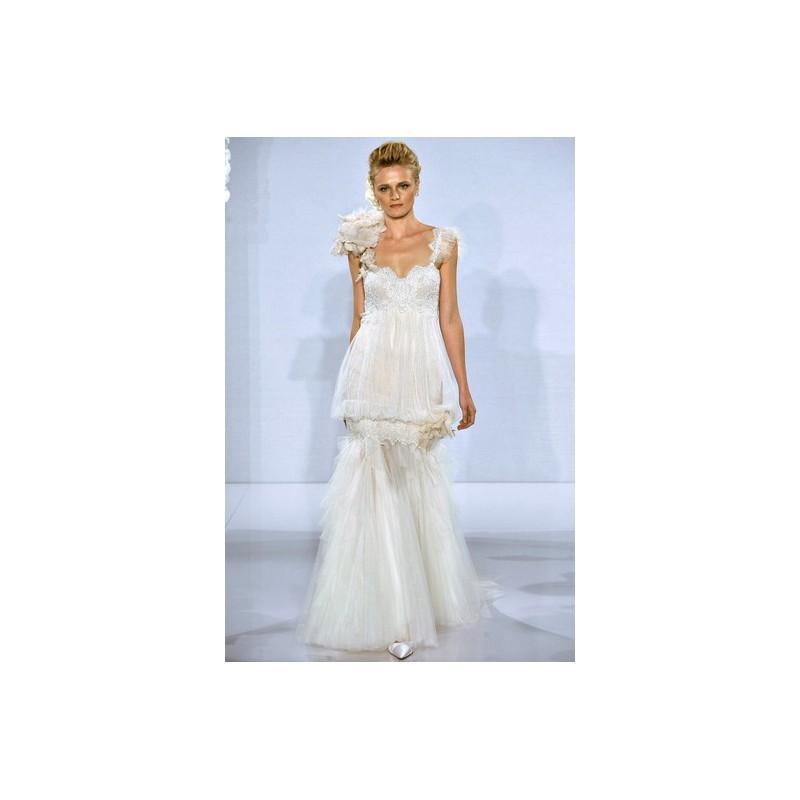 Boda - Pnina Tornai FW12 Dress 14 - Sleeveless Fall 2012 Pnina Tornai for Kleinfeld Full Length Fit and Flare White - Rolierosie One Wedding Store