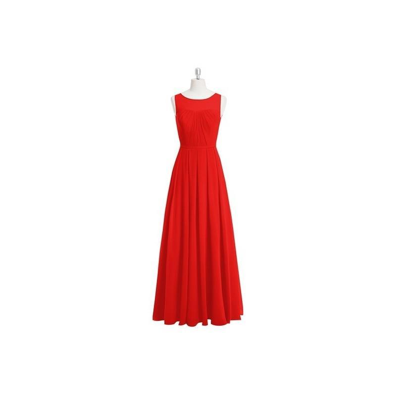 Wedding - Red Azazie Ambrosia - Floor Length Keyhole Boatneck Chiffon Dress - Simple Bridesmaid Dresses & Easy Wedding Dresses