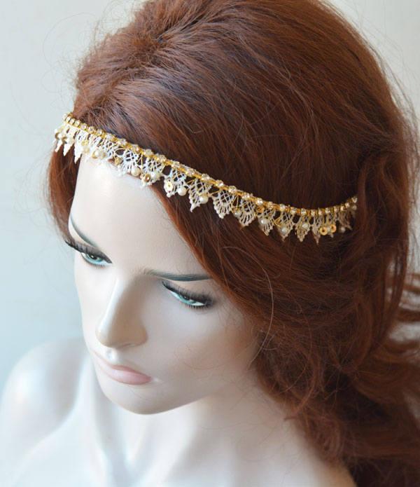 Wedding - Lace Headpiece for Wedding, Lace Wedding Headband, Headband gold Wedding, Hair Accessories Wedding Gold, Gold Hair Jewelry - $42.00 USD