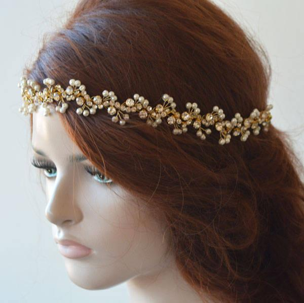 Wedding - Gold pearl Headband for Wedding, Pearl Headband Wedding , Pearl Headpiece for Wedding, Hair Accessories Wedding Gold, Gold Hair Jewelry - $44.00 USD