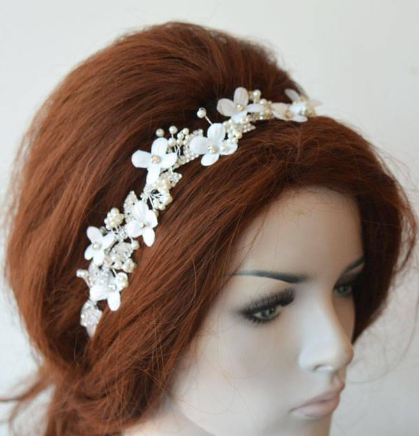 Wedding - Bridal Headpiece leaf Floral, leaf Floral Headband Wedding, Headpiece for Wedding, Hair Jewelry, Hair Accessory - $57.00 USD