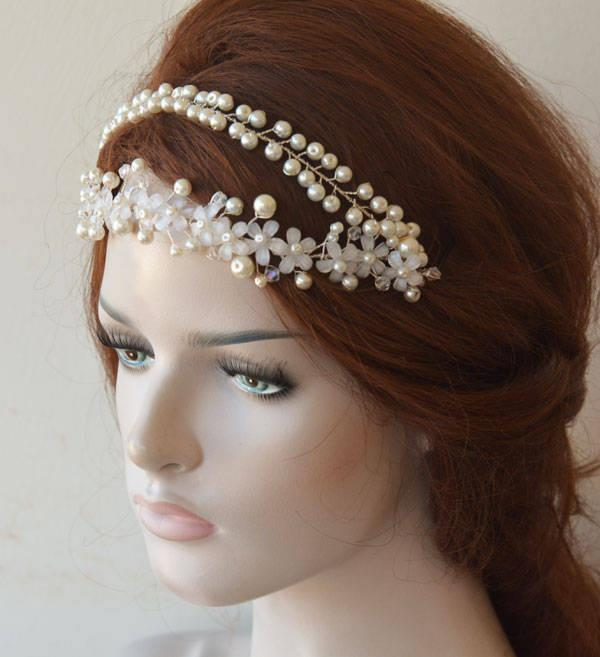 Hochzeit - Wedding Headband Pearl, Headpiece Wedding Hair Accessories, Bridal Headband Pearl Double, Vintage İnspired Wedding Headbands, Bridal Hair - $59.00 USD