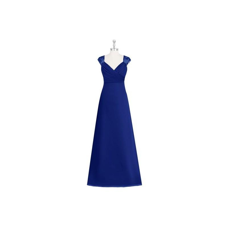 Wedding - Royal_blue Azazie Jaidyn - Chiffon And Lace Illusion V Neck Floor Length Dress - Simple Bridesmaid Dresses & Easy Wedding Dresses
