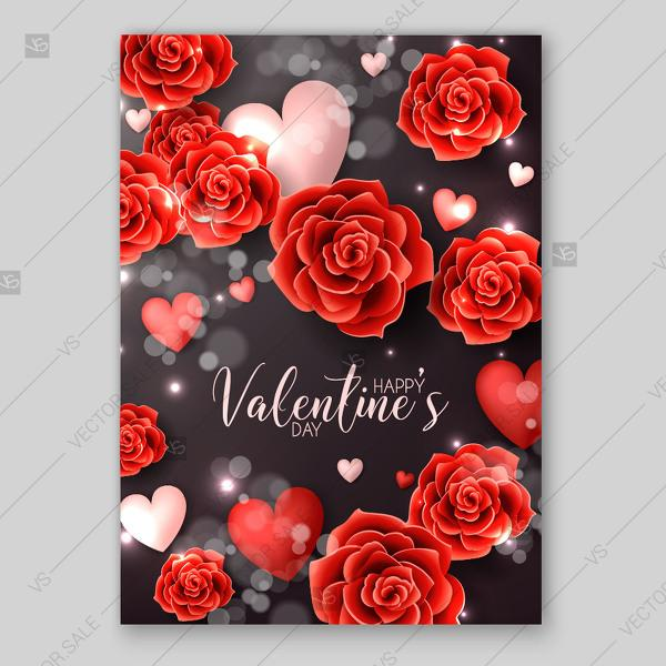 Happy valentines day greeting card red paper roses origami flowers happy valentines day greeting card red paper roses origami flowers soft hearts on blackboard mightylinksfo
