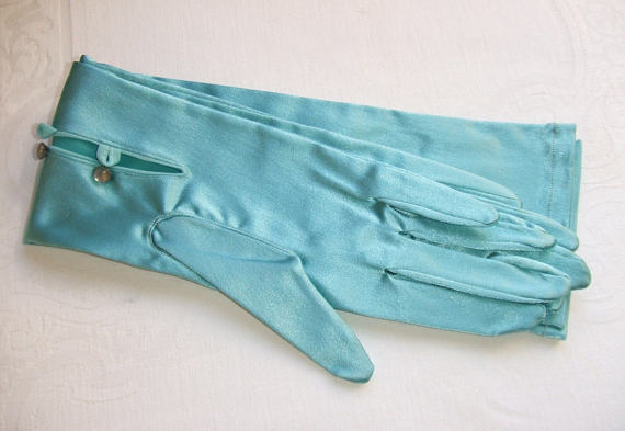 Свадьба - Long Turquoise Opera Gloves