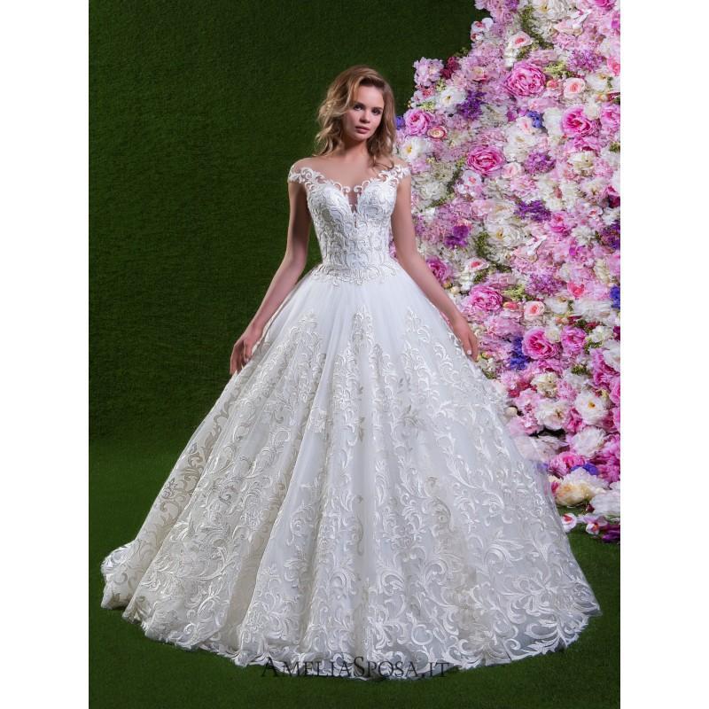 زفاف - Amelia Sposa 2018 Lorena Cap Sleeves Sweet Ball Gown Illusion Chapel Train Ivory Embroidery Tulle Bridal Dress - Charming Wedding Party Dresses