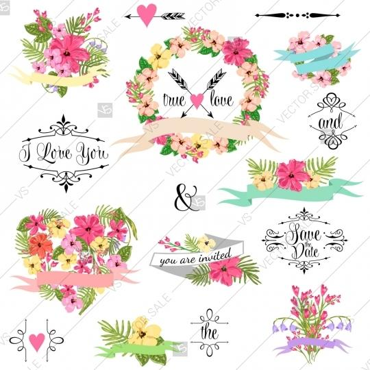 Wedding - Wedding graphic clip art set, wreath, flowers, arrows, hearts, laurel, ribbons and labels