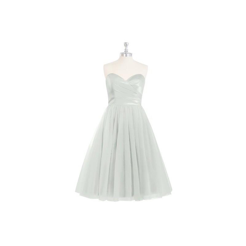 e1b3676c8a Silver Azazie Reina - Corset Tulle And Satin Knee Length Sweetheart Dress -  Simple Bridesmaid Dresses   Easy Wedding Dresses