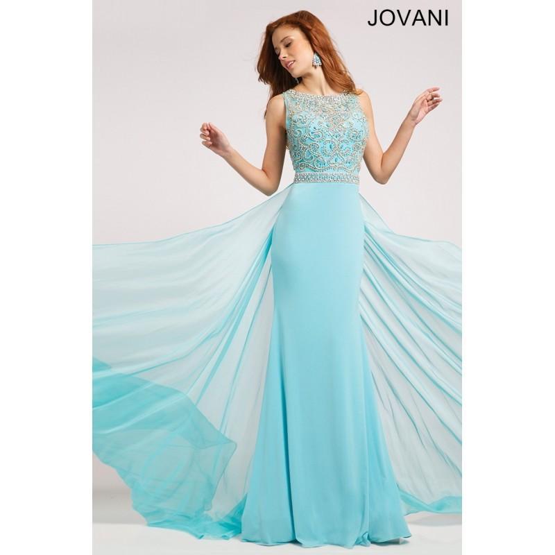 زفاف - Jovani Blue Jersey Embellished Gown 21029 -  Designer Wedding Dresses