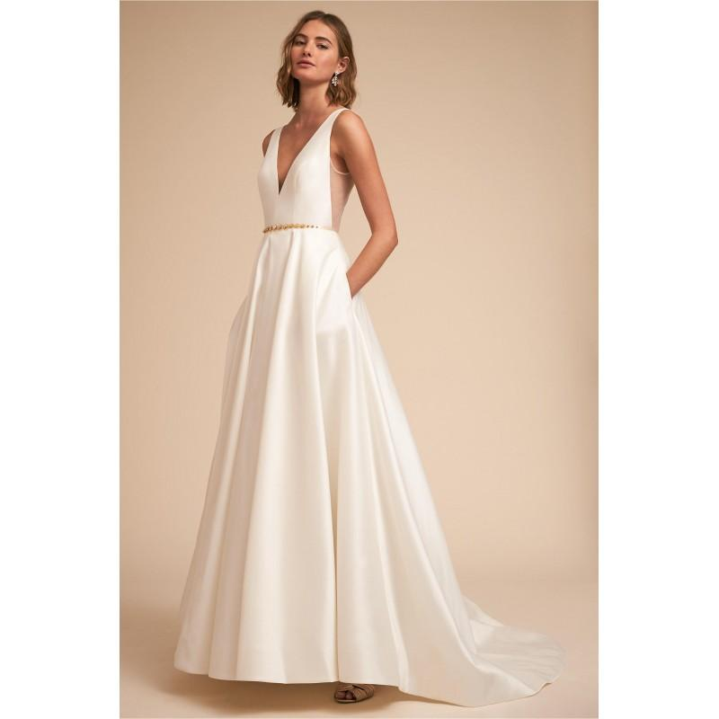 7e72f4a4d7b BHLDN Spring Summer 2018 Octavia Simple Chapel Train Ivory Aline V-Neck  Sleeveless with Sash Satin Bridal Gown - Charming Wedding Party Dresses