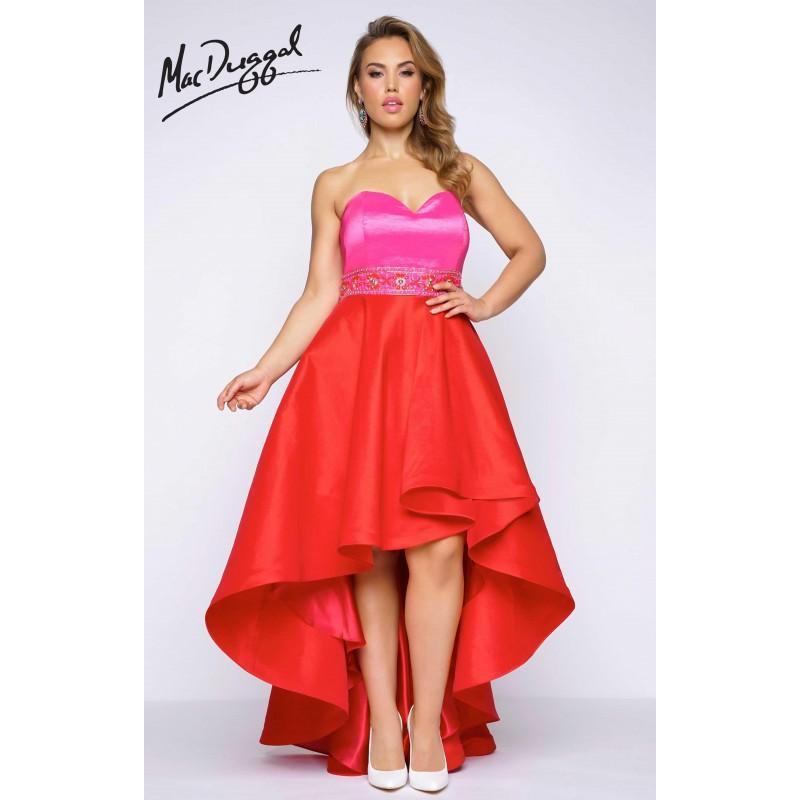 Hot Pink Cherry Fabulouss 77159F - Plus Size High-low Dress ...