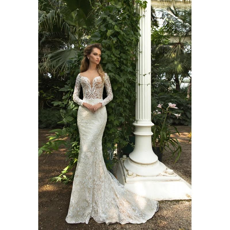 Wedding - Crystal Design 2018 Steysi Fit & Flare Illusion Cream Long Sleeves Sweep Train Sweet Covered Button Lace Beading Wedding Gown - Rolierosie One Wedding Store