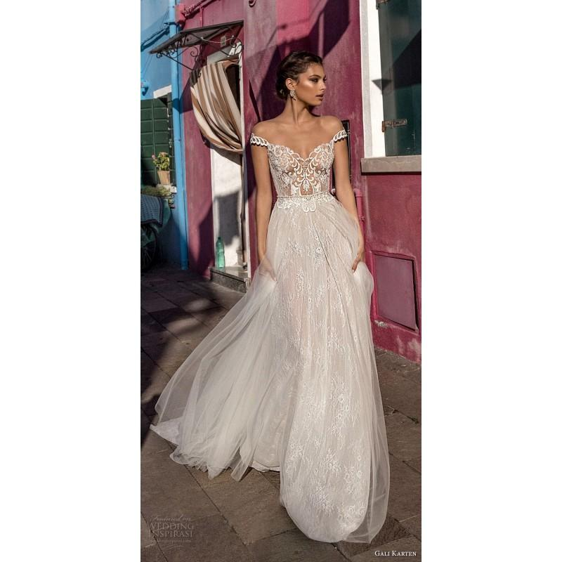 Wedding - Gali Karten 2018 Embroidery Sweet Lace Illusion Aline Cap Sleeves Sweep Train Ivory Bridal Gown - Bonny Evening Dresses Online
