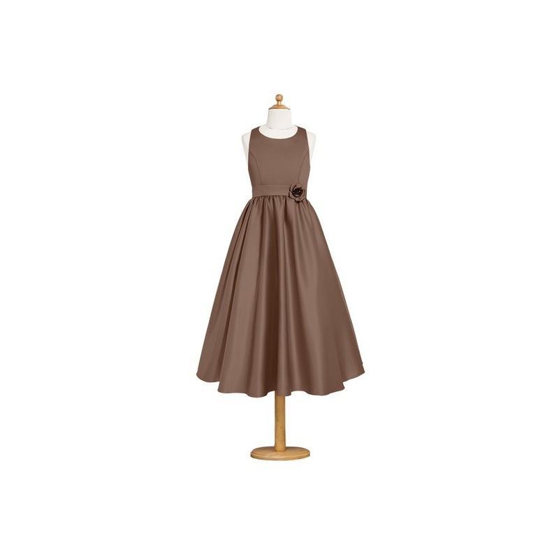 Wedding - Brown Azazie Coraline JBD - Satin Scoop Tea Length Strap Detail Dress - Charming Bridesmaids Store