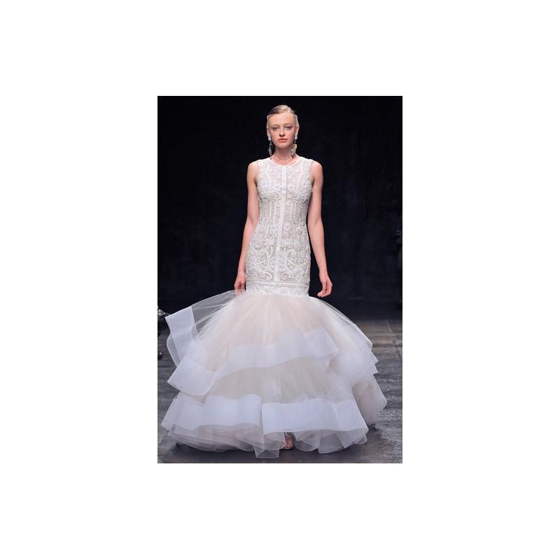 Wedding - Lazaro FW13 Dress 1 - Fit and Flare Fall 2013 Ivory Lazaro Full Length High-Neck - Rolierosie One Wedding Store