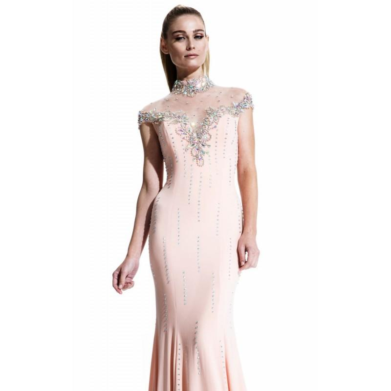 Wedding - Peach Beaded High Neck Gown by Johnathan Kayne - Color Your Classy Wardrobe