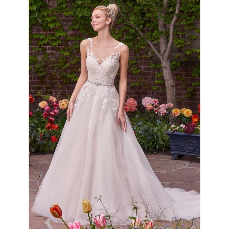 Boda - Rebecca Ingram 2017 Olivia Aline Chapel Train Illusion Sweet Sleeveless Blush with Sash Lace Wedding Dress - Brand Prom Dresses