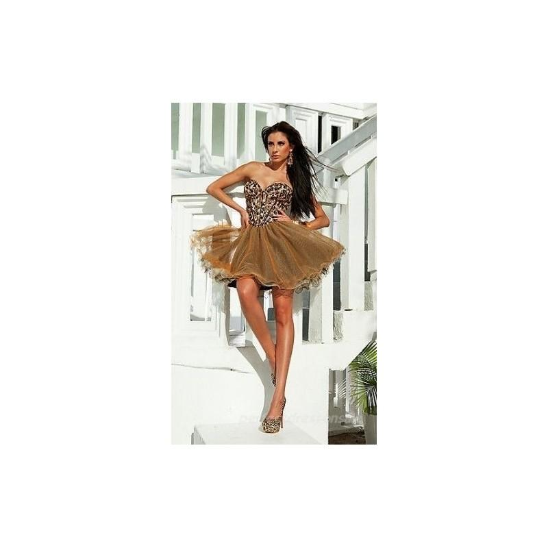 Boda - TB Shorts by Mon Cheri - TS11267 Short Dress In Brown Multicolor - Designer Party Dress & Formal Gown