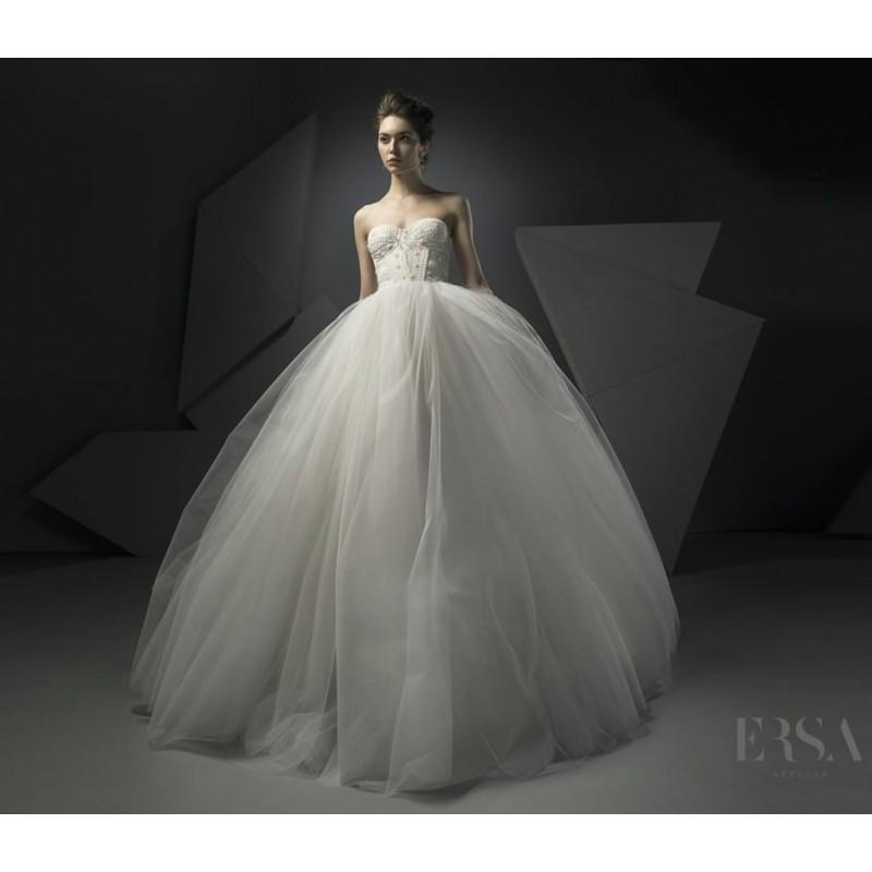 Wedding - Ersa Atelier Spring/Summer 2018 Etta Champagne Tulle Chapel Train Sweet Beading Ball Gown Sweetheart Sleeveless Wedding Gown - Brand Wedding Dresses