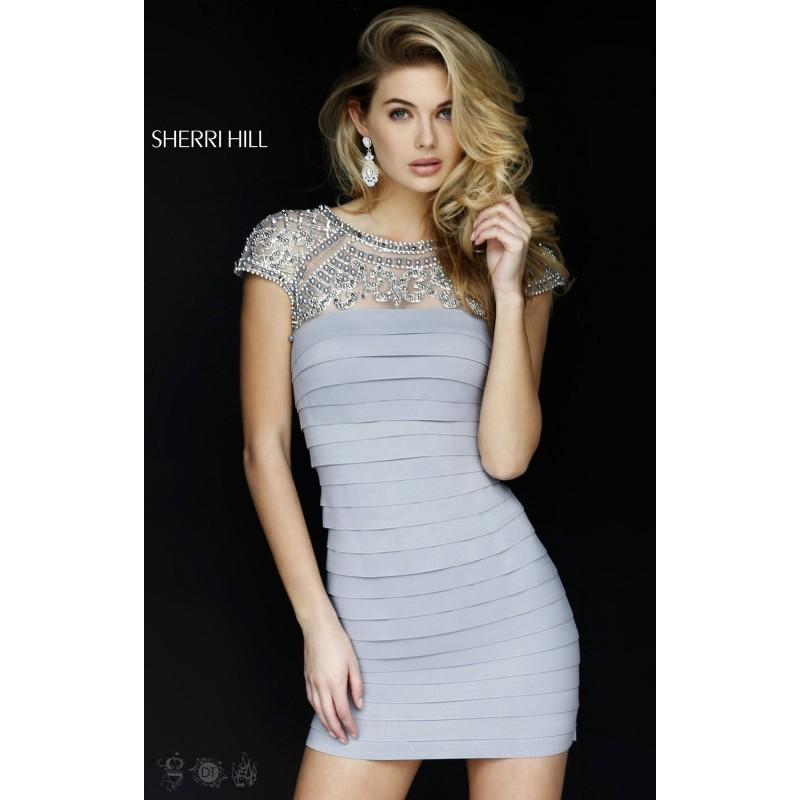 Wedding - Black Sherri Hill 32282 - Sleeves Short Sexy Dress - Customize Your Prom Dress