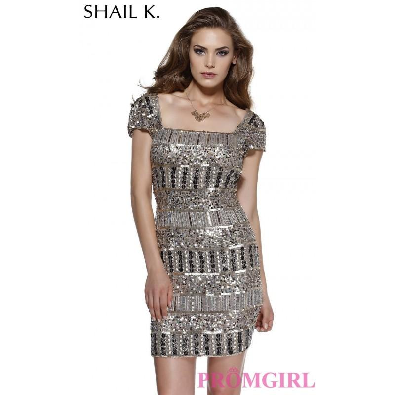 Wedding - Short Sleeved Sequin Shail K Dress - Brand Prom Dresses