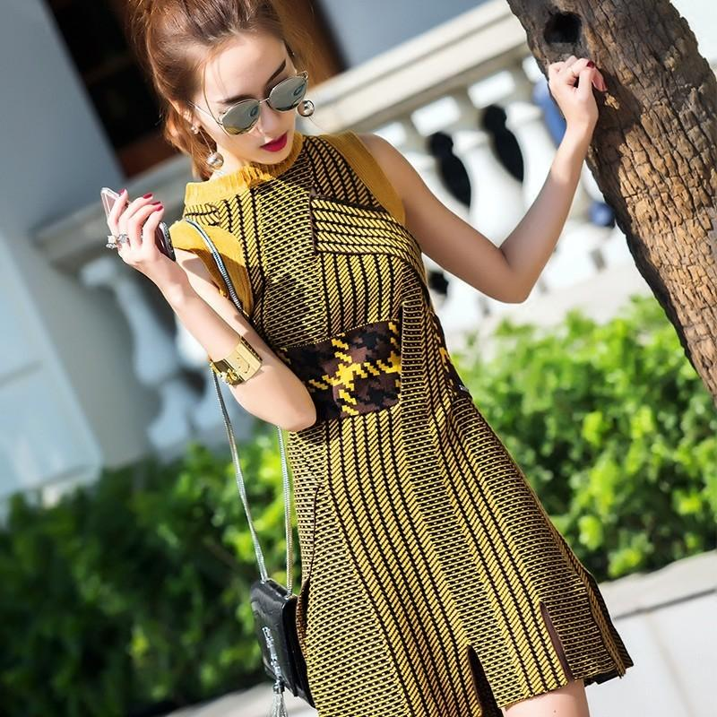 Свадьба - 2017 summer dress new style slim irregular open fork sweater knit dress women - Bonny YZOZO Boutique Store