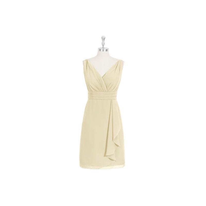 Wedding - Champagne Azazie Iliana - Knee Length V Neck V Back Chiffon Dress - Simple Bridesmaid Dresses & Easy Wedding Dresses