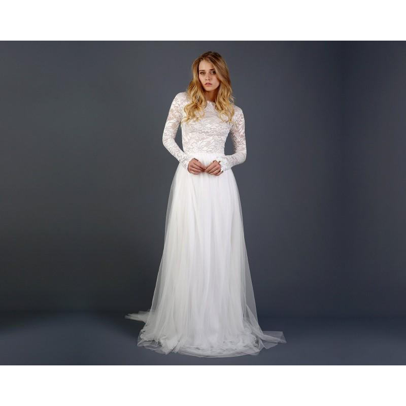 1ed3ea6b8 Beautiful Lace Long Sleeve Wedding Dress with Silk Chiffon and Soft English Tulle  Skirt - Zoey Dress - Hand-made Beautiful Dresses