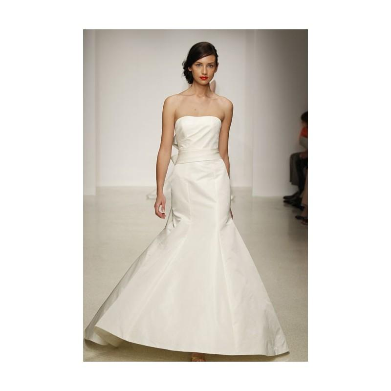 Mariage - Amsale - Spring 2013 - Camden Strapless Silk A-Line Wedding Dress with Sash - Stunning Cheap Wedding Dresses