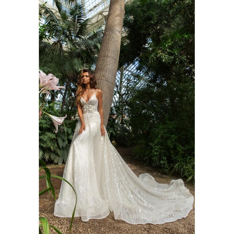 Wedding - Crystal Design 2018 Pandora Sweetheart Aline Sweet Sleeveless Chapel Train Cream Sequined Beading Bridal Dress - 2018 Unique Wedding Shop