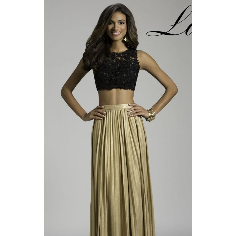 Mariage - Black/Gold Two Tone Two Piece Set Gown by Lara Designs - Color Your Classy Wardrobe