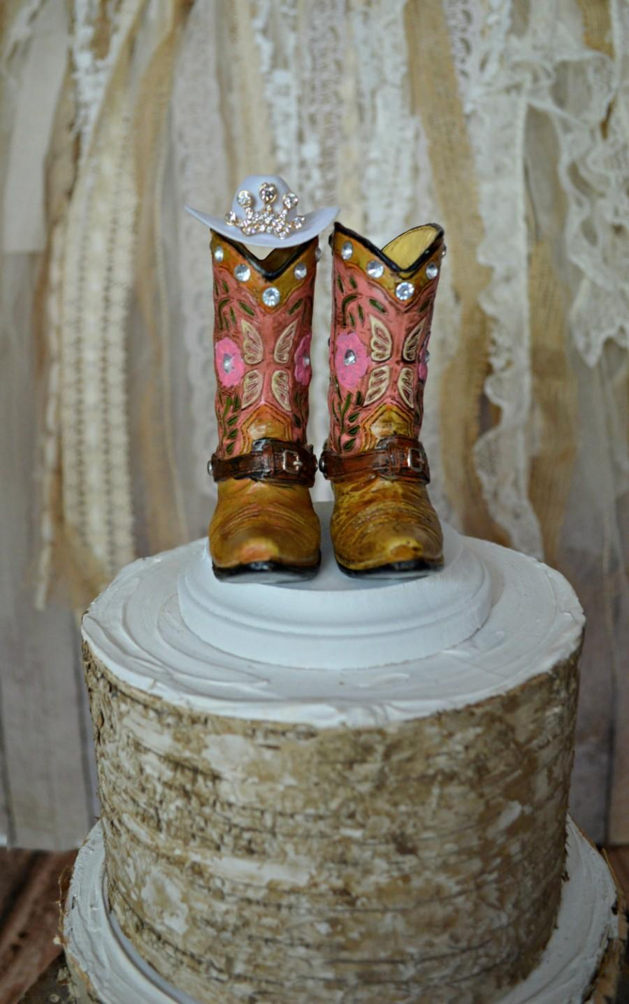 Cowgirl The Birthday Party Cake Topper Girls Pink Boots Sweet Sixteen Hat Western Decorations