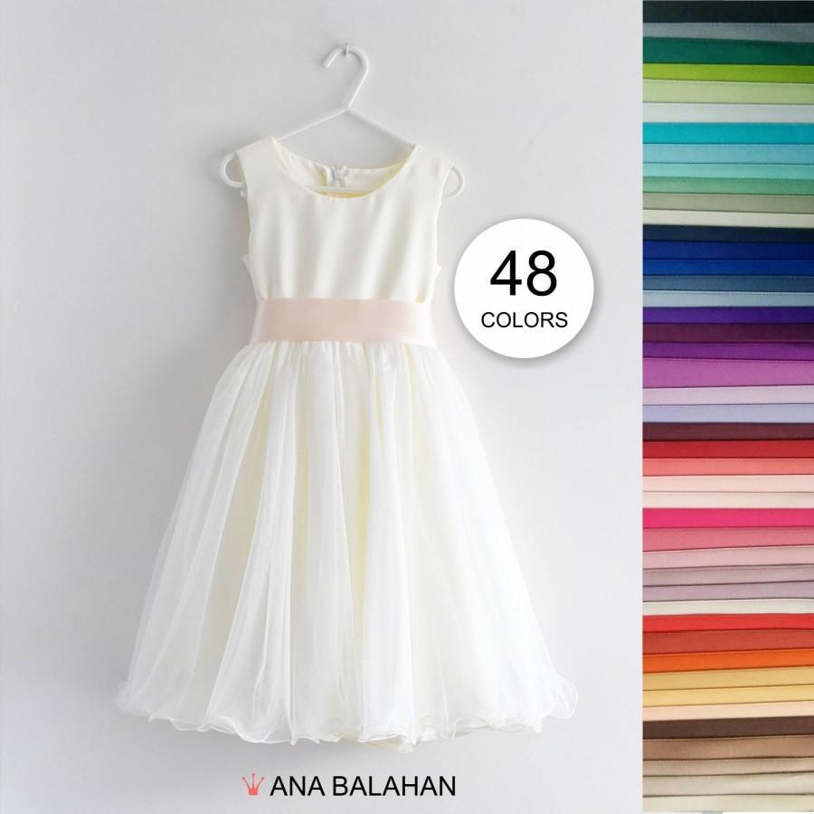 Flower Girl Dress, Light Ivory White Wedding Junior Bridesmaid ...