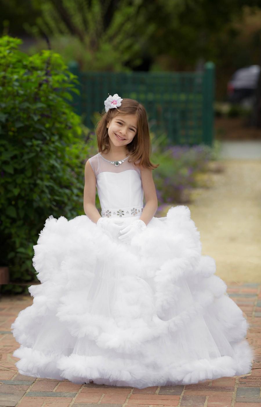 White Flower Girl Dress White Wedding Princess Dress Ruffle Dress ...