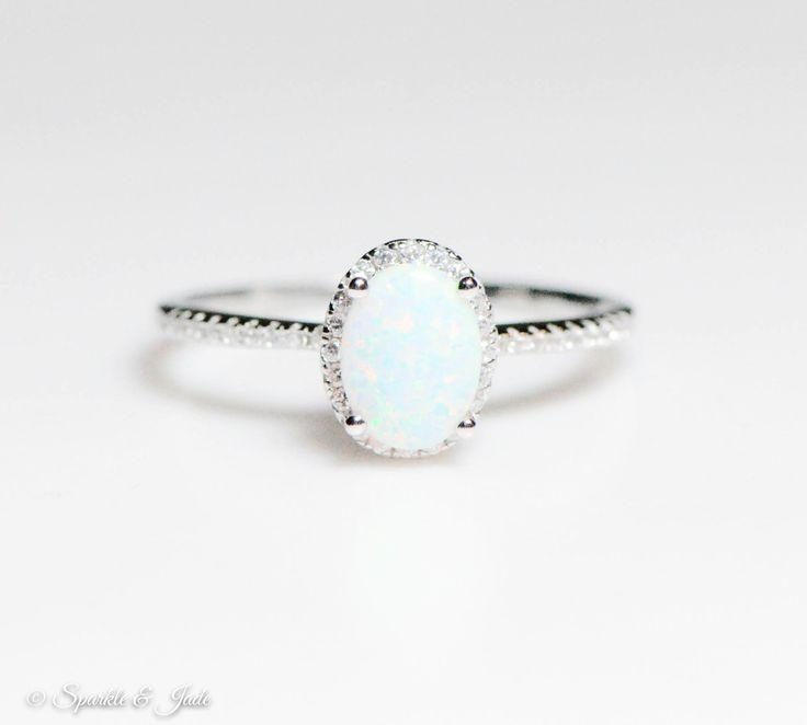 Mariage - Sterling Silver Oval White Opal And CZ Halo Ring