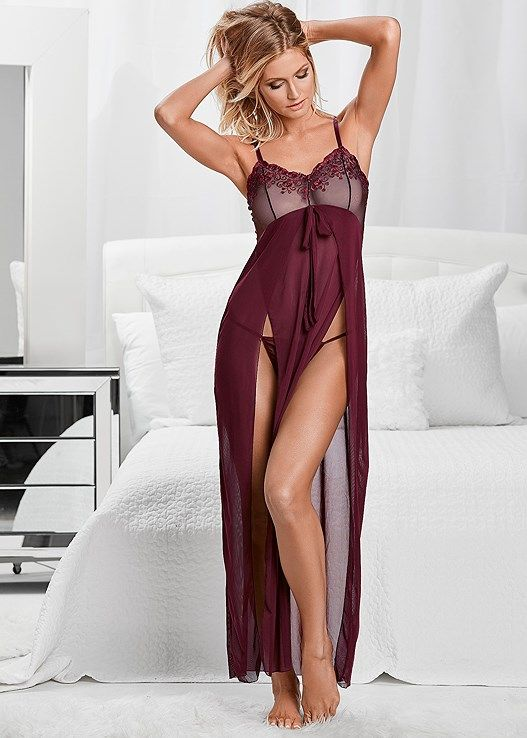 Mariage - Venus Women's Lace Detail Gown And Panty Sexy Lingerie - Purple/red, Size XL