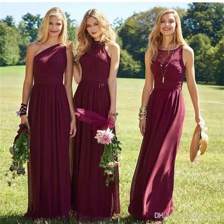 Свадьба - Burgundy Bridesmaid Dresses 2017 New Floor Length Mixed Styles Chiffon Lace Wedding Party Dresses Cheap Summer Boho Maid Of Honor Gowns