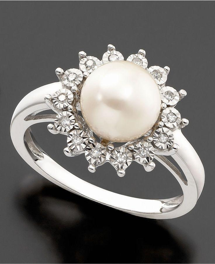 Wedding - 10k White Gold Ring, Cultured Freshwater Pearl & Diamond Accent