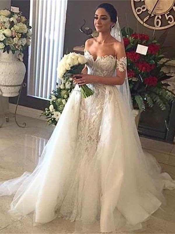 Свадьба - Sheath/Column Off-the-shoulder Sweep/Brush Train Short Tulle Wedding Dress #VB046