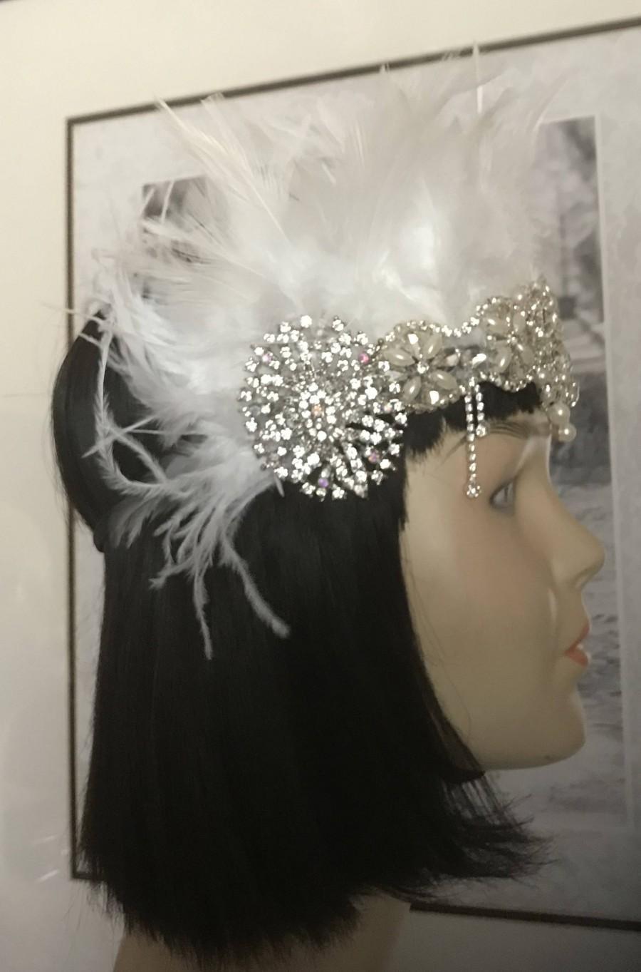 Wedding - Gatsby Headpiece/1920s headpiece/Flapper headpiece/Rhinestone headpiece/hair accessories/hair jewelry/hair accessories/Amor