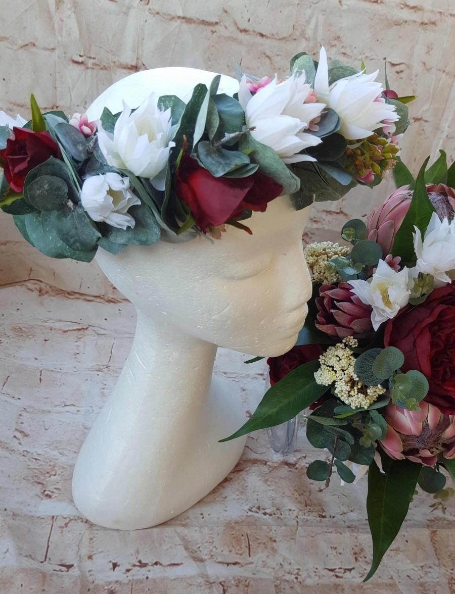 Bridal Flower Crown White Burgandy Hair Flowers Blushing Bride
