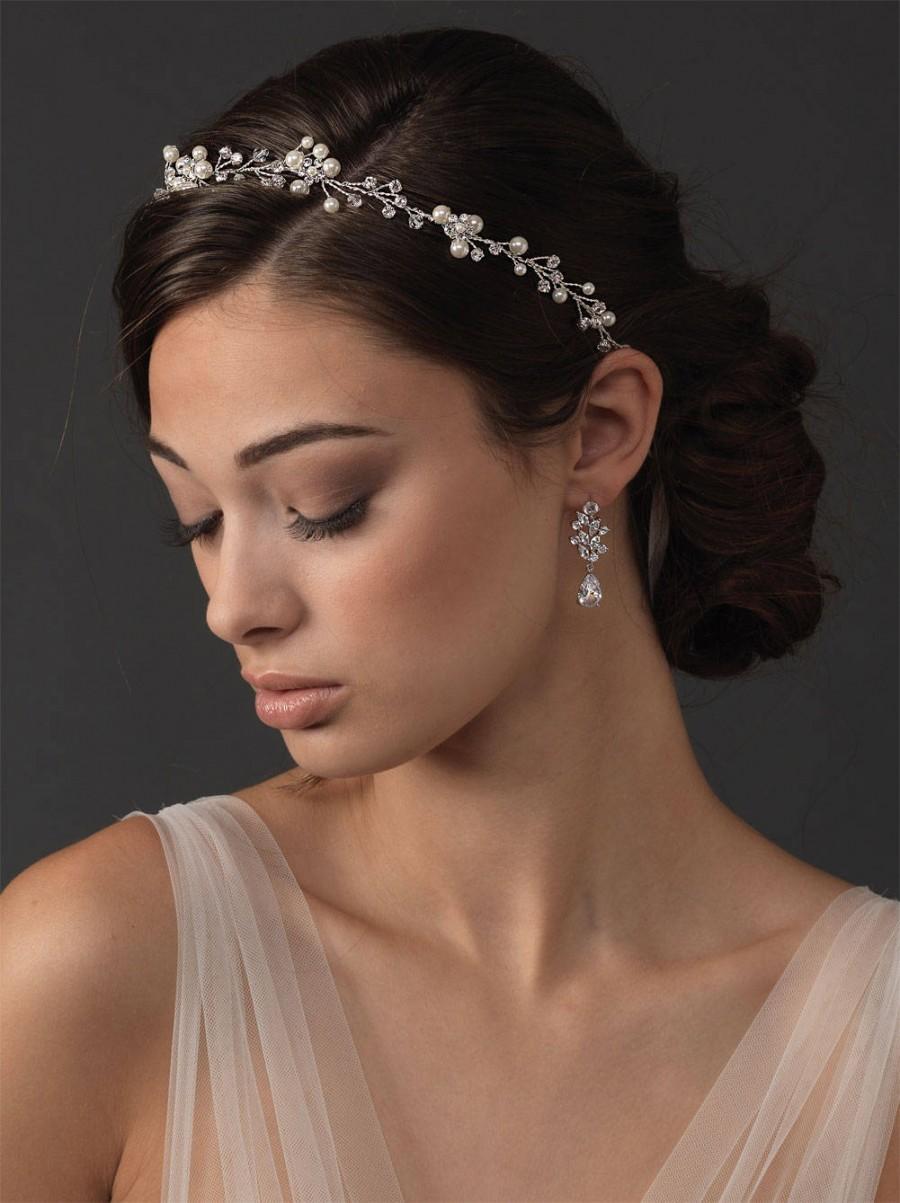 Mariage - Pearl Vine Wedding Hair Vine, Floral Pearl Bridal Hair Vine, Ribbon Headband Halo, Rhinestone Headband, Delicate Floral Headband TI-3339