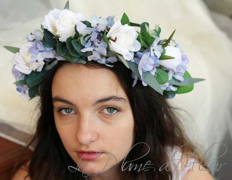 Wedding - Bluebird- Flower crown / hair circlet - blue and white flowers. Roses, hydrangea and foliage hair flowers.