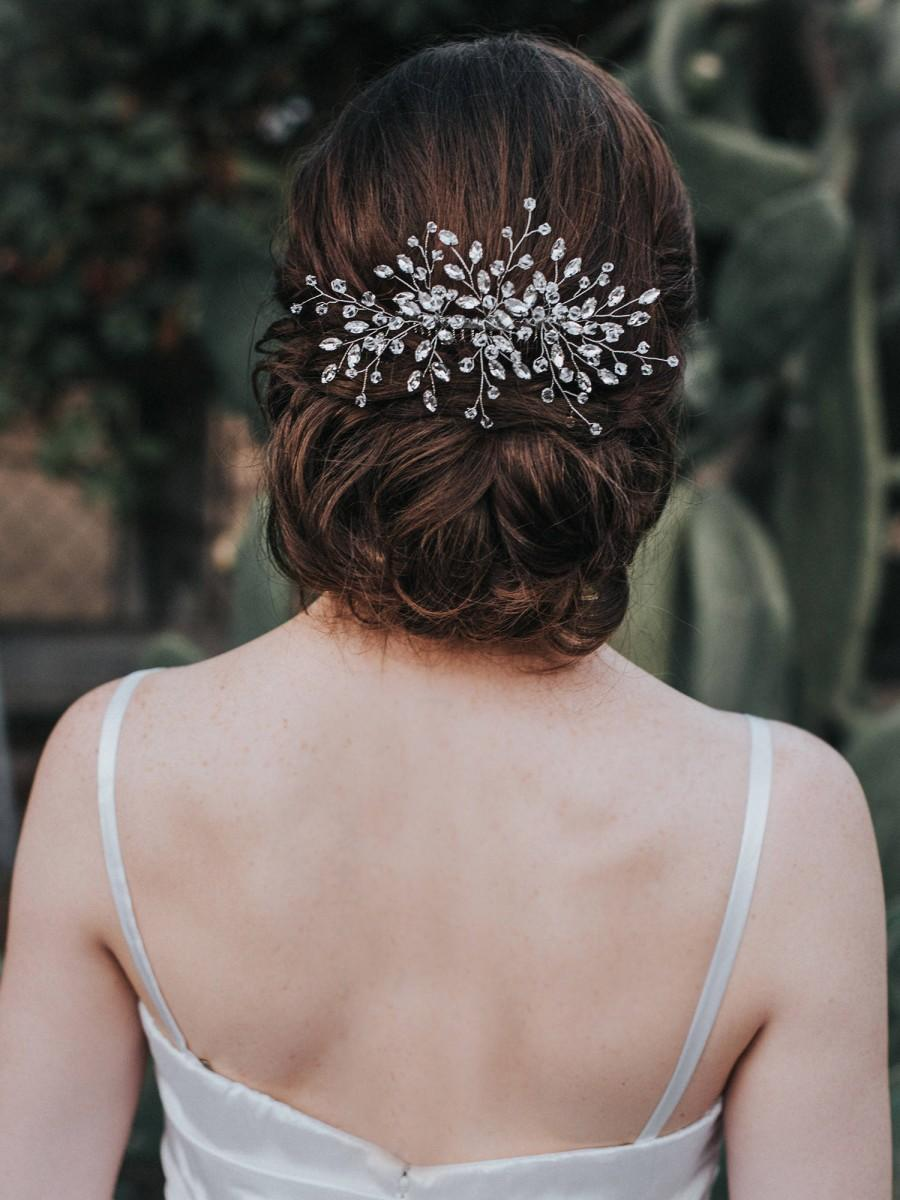 """Wedding - Bridal Hair Comb, Crystal Pearl Hair Piece, Wedding Headpiece, Boho Hair Accessories in Silver, Opal, Gold or Rose Gold - """"Jessica"""" Large"""