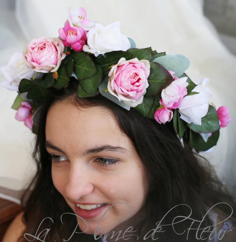 Primrose pink and white rose silk flower crown hair circlet primrose pink and white rose silk flower crown hair circlet plump pink garden roses white open spray roses and japanese jasmine izmirmasajfo