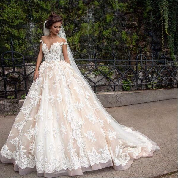 2017 Lace Lique Princess Country Wedding Dresses Berta Champagne Dubai Arabic Off Shoulder A Line Overskirt Gown Milla Nova As Low