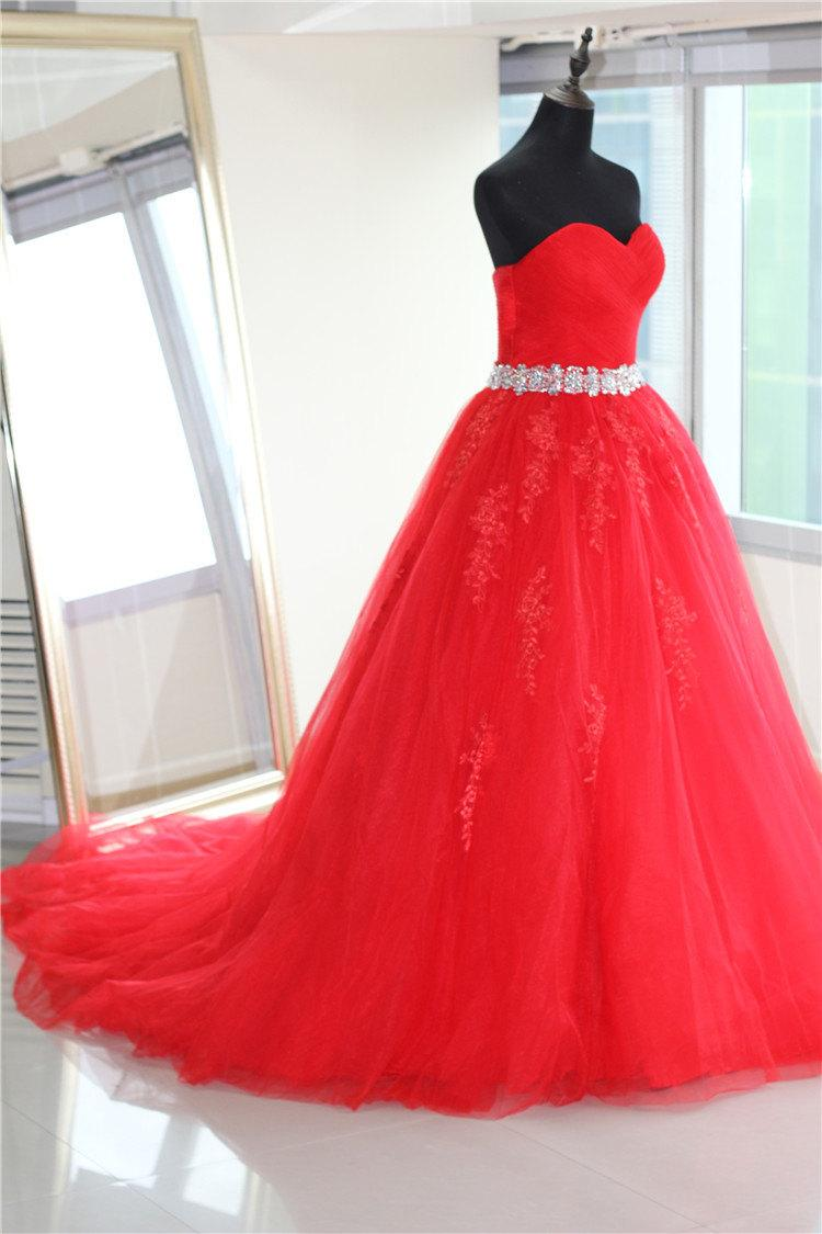 Plus Size Friendly Floor Length Premium Red Tulle Ruffle Wedding Gown With Attached Bling Sash A Line Princess Corset Ball